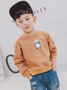 魔小孩童装棕色圆领T恤