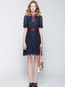 太和女装新款青色连衣裙