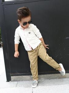 大头儿子童装纯白衬衫