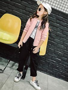 魔小孩童装粉色修身外套