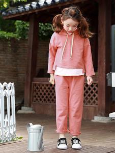 魔小孩童装粉色运动套装