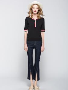 太和女装新款短袖黑色T恤