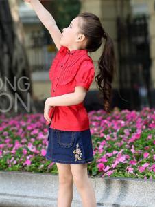 小熊空间童装红色蓬蓬袖衬衫