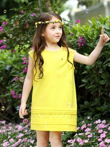 小熊空间童装黄色无袖女裙