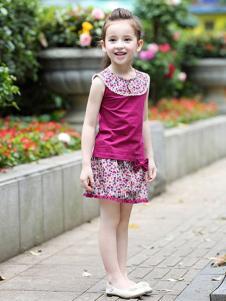 小熊空间童装紫红色印花无袖套装裙