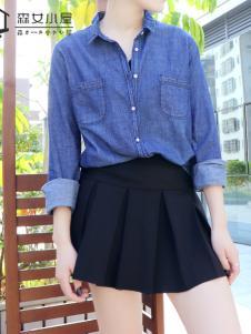 森女小屋新款牛仔衬衫