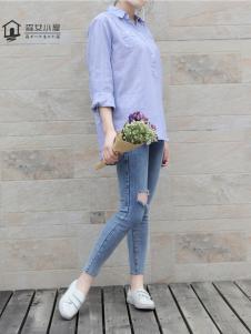 森女小屋新款蓝色衬衫