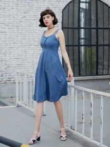 艾诺绮气质淑女修身无袖连衣裙
