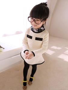 淘猫城堡童装白色荷叶边女裙
