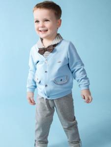 麦西西童装蓝色V领线衣
