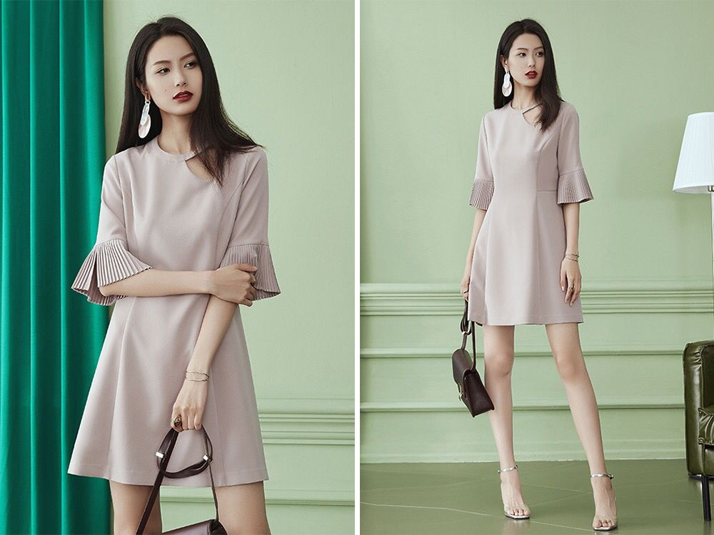 服装招商 穿衣搭配 春美多:梨形身材,穿这些连衣裙才不显胖!图片