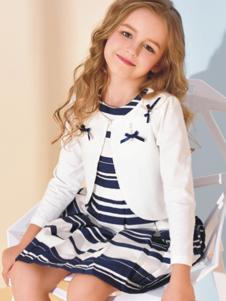诺贝达童装白色蝴蝶结外套