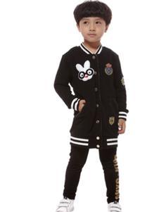 吉曦宝贝童装黑色卡通图案外套
