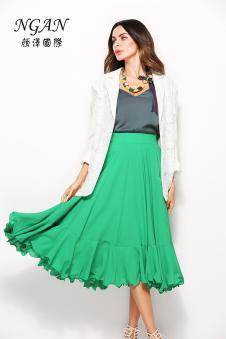 2018春装新款绿色中长款女裙