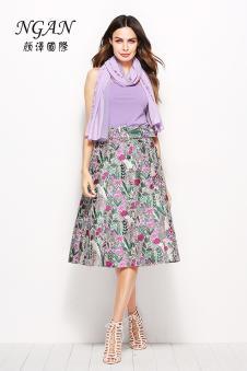 2018春装新款紫色无袖连衣裙