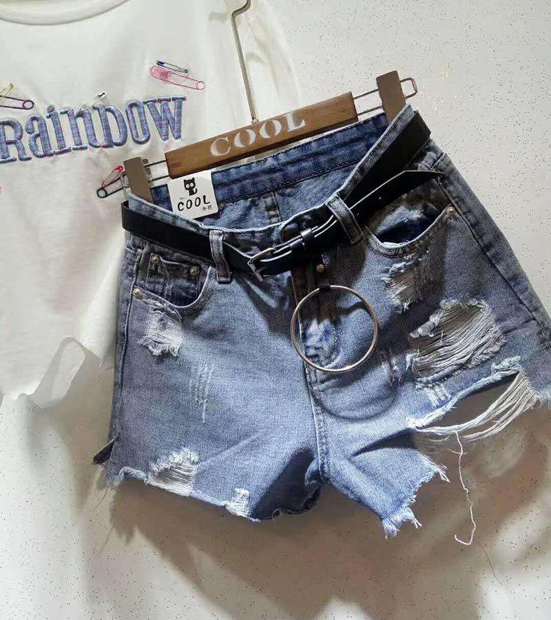 不规则女士破洞牛仔短裤批发女性服装批发