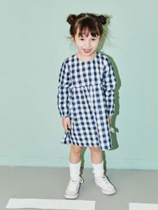 艾卡米勒童装格子长袖女裙