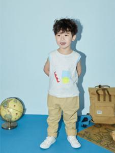 艾卡米勒童装白色无袖T恤