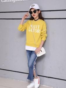 卢卢娃童装黄色字母T恤