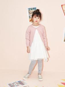 艾卡米勒童装粉色针织开衫