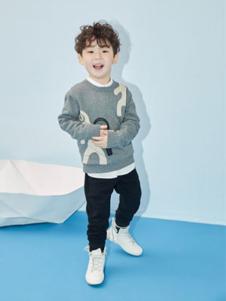 艾卡米勒童装灰色针织套头毛衫