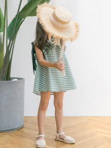 五月童品童装青色条纹女裙