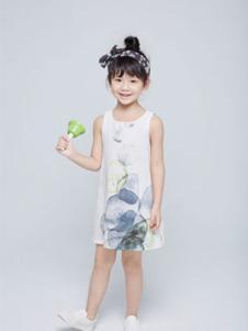 艾卡米勒童装白色印花无袖女裙