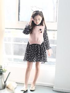 卢卢娃童装黑色圆点女裙