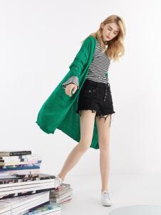 钡禾新款时尚气质绿色外套