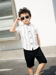 西瓜王子帅气短袖条纹方领男衬衣