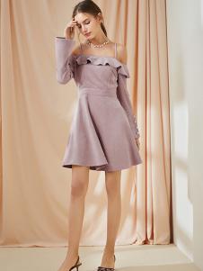 ONE MORE女装粉色吊带连衣裙