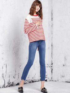 VOV女裝白色紅條紋針織衫