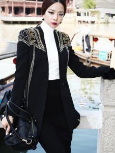 DINT女装秋冬黑色休闲外套