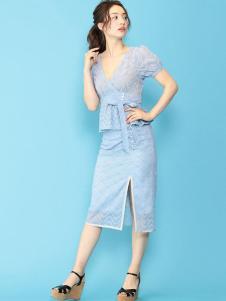 Deicy女装浅蓝蕾丝套装