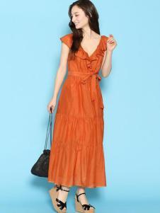 Deicy女装橘黄V领连衣裙