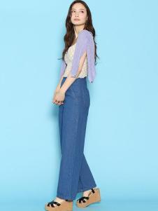 Deicy女装蓝色宽松牛仔阔腿裤