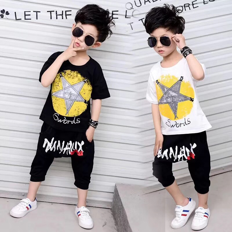 时尚潮牌童装短袖T恤套装童装供应