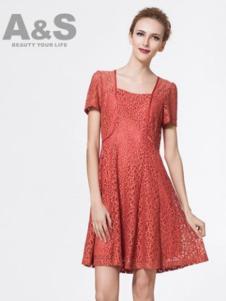 安秀女装橘色连衣裙套装