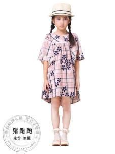 猪跑跑女大童格子裙