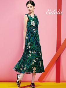 埃迪拉女装绿色印花连衣裙
