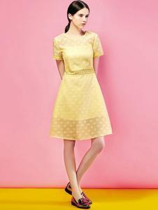 埃迪拉女装黄色网纱连衣裙