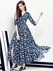 埃迪拉女装藏青雪纺连衣裙