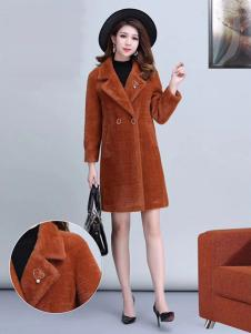 艾尔菲洋女装棕色长款大衣