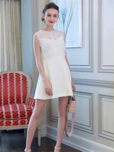 百袖女装白色无袖连衣裙