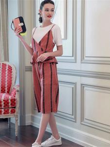 百袖女装红色条纹吊带套装