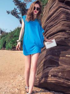 帛逸女装蓝色宽松T恤