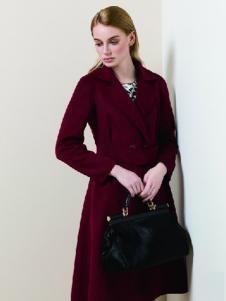 DYBULAFUN女装深红色修身大衣