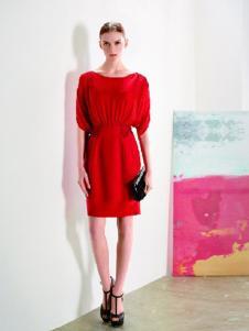 DYBULAFUN女装红色一字肩连衣裙