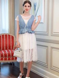 百袖女装白色网纱连衣裙