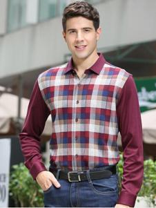 迪仕尼奴男装紫红色格子衬衫